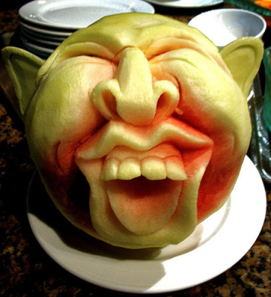 Watermelon Carved Goblin Face