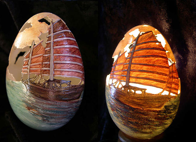 Carved, Painted, and Illuminated Ship Photo via Art et Artisanat du Monde