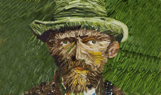 Vincent Van Gogh's Self Portrait with Grey Felt Hat in Leeks from Womans Day