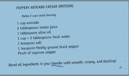 Avacado Caesar Dressing